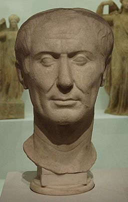 Tusculum Bust of Julius Caesar. Photo by Gautier Poupeau under CC-BY 2.0 license.